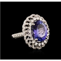 18KT White Gold 9.02 ctw Tanzanite and Diamond Ring