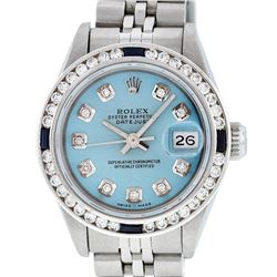 Rolex Ladies Stainless Steel Blue Diamond & Channel Set Sapphire Datejust Wristw