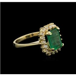 2.22 ctw Emerald and Diamond Ring - 14KT Yellow Gold