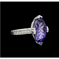 14KT White Gold 5.20 ctw Tanzanite and Diamond Ring