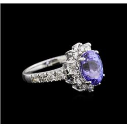 2.97 ctw Tanzanite and Diamond Ring - 14KT White Gold