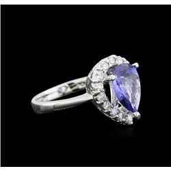 2.33 ctw Tanzanite and Diamond Ring - 14KT White Gold