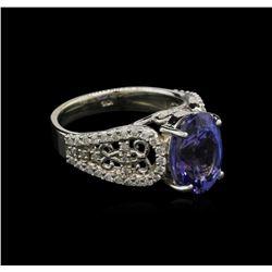 4.38 ctw Tanzanite and Diamond Ring - 14KT White Gold