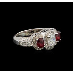 14KT White Gold 0.84 ctw Ruby and Diamond Ring