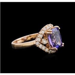 3.46 ctw Tanzanite and Diamond Ring - 14KT Rose Gold