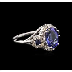 3.81 ctw Tanzanite, Blue Sapphire, and Diamond Ring - 14KT White Gold