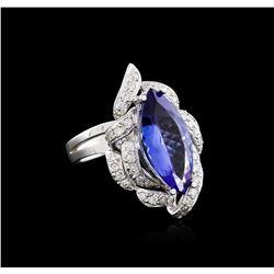 14KT White Gold 3.92 ctw Tanzanite and Diamond Ring