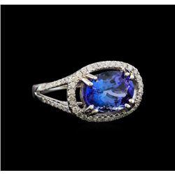 14KT White Gold 4.14 ctw Tanzanite and Diamond Ring