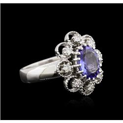 1.73 ctw Tanzanite and Diamond Ring - 14KT White Gold