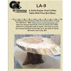 Handmade, One Of A Kind Solid Poplar Oval Coffee Table With Pine Burl Base