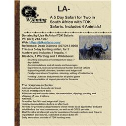 A Five Day Hunting Safari In South Africa for Two Which Includes 4 Species