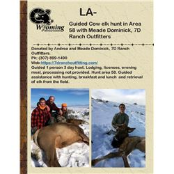 Guided Cow elk hunt in Area 58 with Meade Dominick, 7D Ranch Outfitters