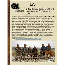 3 Day Guided Waterfowl Hunt In Alberta for 6 Hunters in 2019