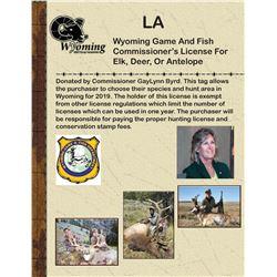 2019 Commissioner's License for Elk, Deer, or Pronghorn