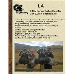 3 Day Spring Turkey Hunt for 2 in 2020 in Sheridan, WY