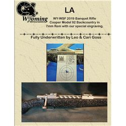 WY-WSF 2019 Banquet Rifle Cooper Model 92 Backcountry in 7mm Rem with our specially engraving.