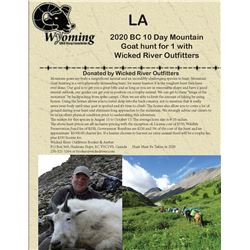 2020 BC 10 Day Mountain Goat hunt for 1 with  Wicked River Outfitters