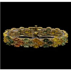 14KT Yellow Gold 28.17 ctw Multicolor Sapphire and Diamond Bracelet