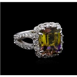 5.31 ctw Ametrine and Diamond Ring - 14KT White Gold