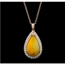 25.06 ctw Opal and Diamond Pendant With Chain - 14KT Rose Gold