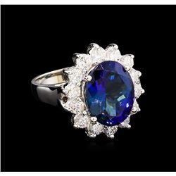 5.98 ctw Tanzanite and Diamond Ring - 14KT White Gold