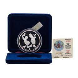 1988 Rarities Mint Walt Disney Donald & Daisy 5 oz .999 Silver Coin w/Box & COA