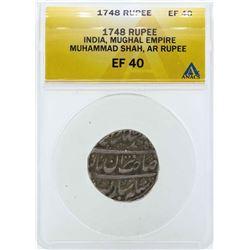 1748 India Rupee Mughal Empire Coin ANACS EF40