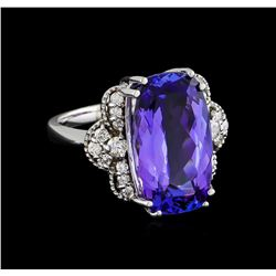 10.50 ctw Tanzanite and Diamond Ring - 14KT White Gold
