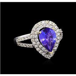 1.70 ctw Tanzanite and Diamond Ring - 18KT White Gold