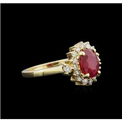 1.59 ctw Ruby and Diamond Ring - 14KT Yellow Gold