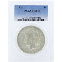 1928 $1 Peace Silver Dollar Coin PCGS MS64+