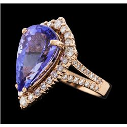 8.62 ctw Tanzanite and Diamond Ring - 14KT Rose Gold