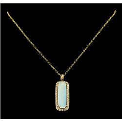 10.88 ctw Opal and Diamond Pendant With Chain - 14KT Yellow Gold