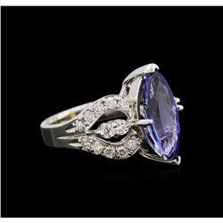 4.00 ctw Tanzanite and Diamond Ring - 14KT White Gold