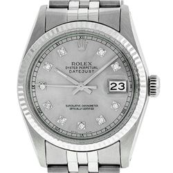 Rolex Mens Stainless Steel 36MM Slate Grey Diamond Datejust Wristwatch
