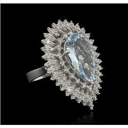 6.06 ctw Aquamarine and Diamond Ring - 14KT White Gold