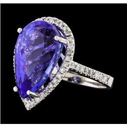 GIA Cert 14.31 ctw Tanzanite and Diamond Ring - 14KT White Gold