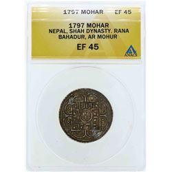 1797 Nepal Shah Dynasty Mohoar Coin ANACS EF45