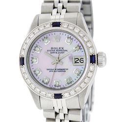 Rolex Ladies Stainless Steel Pink MOP Diamond & Sapphire 26MM Datejust Wristwatc