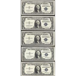 Lot of (5) 1935F $1 Silver Certificate Notes