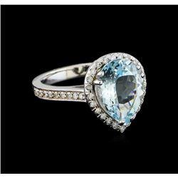 2.94 ctw Aquamarine and Diamond Ring - 14KT White Gold
