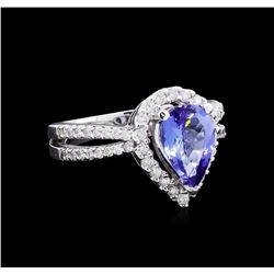1.97 ctw Tanzanite and Diamond Ring - 14KT White Gold