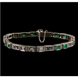 1.30 ctw Emerald and Diamond Bracelet - 18KT White Gold
