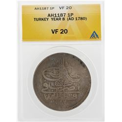 AH1187 1 Para Turkey Year 8 AD1780 Coin ANACS VF20