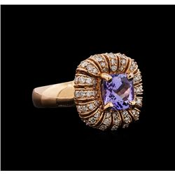 14KT Rose Gold 1.68 ctw Tanzanite and Diamond Ring