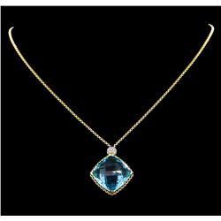 20.00 ctw Blue Topaz and Diamond Necklace - 18KT Yellow Gold