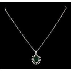 2.91 ctw Emerald and Diamond Pendant With Chain - 14KT White Gold