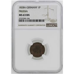 1828-A Germany-Prussia Friedrich Wilhelm II Pfenning NGC MS63BN