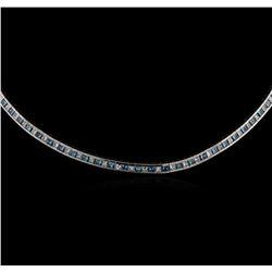 18KT White Gold 5.40 ctw Fancy Blue Diamond Necklace