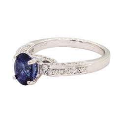 1.78 ctw Sapphire and Diamond Ring - 18KT White Gold